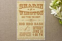 vintage western wedding invitation