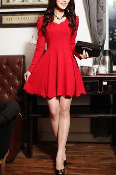 V-Neck scalloped edge dress storage vestidos cortos, vestidos rojos casuale Mini Vestidos, Pretty Dresses, Beautiful Dresses, Dress Skirt, Dress Up, Dress Casual, Flare Dress, Beauty And Fashion, Little Red Dress
