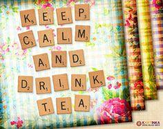KEEP CALM & Drink TEA  38x38 inch Digital Collage by KARTINKAshop, $4.50