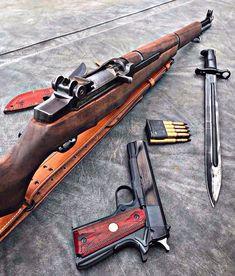 More American than Hot Dawgs at a Baseball game. M1 Garand, Ww2 Weapons, Assault Weapon, Hunting Guns, Custom Guns, Home Defense, Cool Guns, Military Weapons, Guns And Ammo