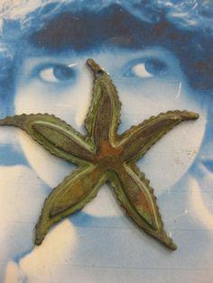 Hand Aged Verdigris Patina Large Starfish by dimestoreemporium