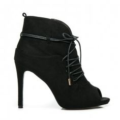 Viazané topánky Peep Toe 1032-1B Peep Toe, Booty, Ankle, Heels, Model, Laura Mercier, How To Make, Black, Fashion