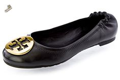 Women's Tory Burch Reva Ballet Flats - Black-Silver - Tory burch flats for  women