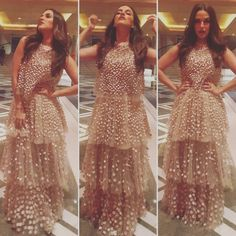 Neha Dhupia wearing Not so Serious by Pallavi Mohan for the Ravishing Beauty and Wellmess Awards