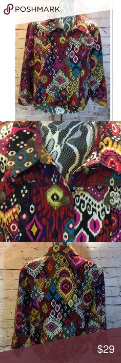 SZ 18 RUBY RD. CROPPED BOLD PRINT JACKET PLUS Vibrant colors and bold pattern with cropped length and cropped sleeves Ruby Rd. Jackets & Coats Jean Jackets