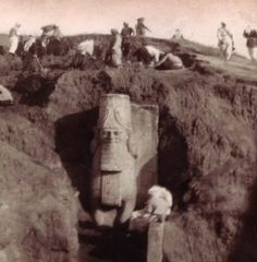 Recently Destroyed 7th* Century BC Assyrian Statue,  Photo c1850 Photo from the mid-9th c excavation of the colossal statues at the Nergal Gate of the ancient city of Nineveh. One of two winged bull-men (aka lamassu) that guarded one of the entrances to Nineveh dated to the time of King Sennacherib*. Named for the Mesopotamian god Nergal, the gate was possibly used for ceremonial purposes since it is the only known gate flanked by sculptures of winged bull-men. Believed to be protective…