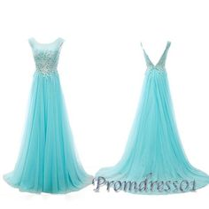 Cute Ice blue tulle + appliques long prom dress for teens, formal dress 2017