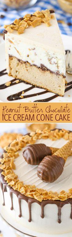Peanut Butter Chocolate Ice Cream Cone Cake recipe from @lifelovesugar