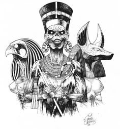 Powerslave Black and White by ~EduardoCardenas on deviantART