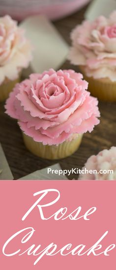 The Easiest Rose cupcake treat! The rose petals are so easy to make and you will love the simple taste of the cupcake. Perfect for Birthday parties, bridal showers, Mother's day and any other occasion Best Dessert Recipes, Cupcake Recipes, Easy Desserts, Baking Recipes, Delicious Desserts, Baking Desserts, Cupcake Ideas, Health Desserts, Fast Recipes