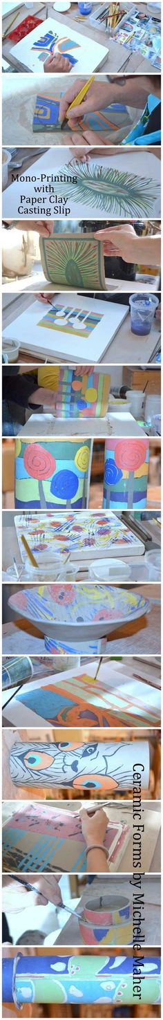 Mono-Printing & Paper Clay Casting Slip, Dublin based weekend course. Borrowing techniques from printing & using underglazes & mark marking processes we painted the plaster batts before casting a thin paper clay slab onto the plaster. The painting/design transfers onto the cast slab. www.ceramicforms.com