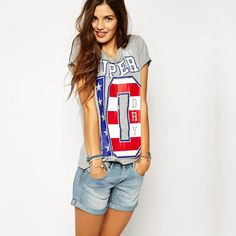 The New Spring and Summer Stylish Leisure T-shirt Tee SUPER Letter Print Lady Cotton Short Sleeve T-shirt