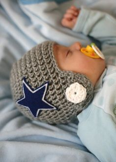 Crocheted Dallas Cowboy Helmet for Baby Boy! -- my bestest just asked for one of these for himself. Heehee.