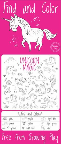 Unicorn Magic Find and Color - Growing Play
