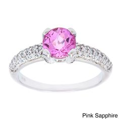 Oravo Sterling Silver Round Solitaire Gemstone Cubic Zirconia Ring (Pink Sapphire Size 5), Women's
