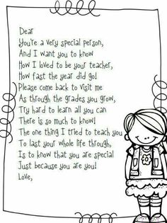 End of the Year Goodbye Poem from Teacher to Students