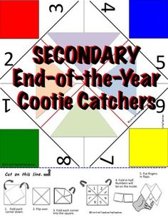 What better way to end the year than with an interactive fun review in the form of a foldable Cootie Catcher (also known as a Fortune Teller)?!This product includes 5 Cootie Catchers with 8 questions each. Example questions include: Name three jobs that require correct grammar usage.What is one thing you learned about writing an introduction?One of the standards for Language Arts is LISTENING.