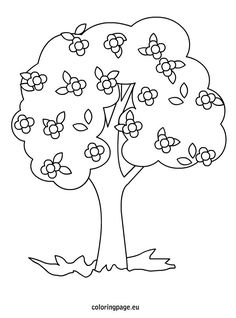 spring tree coloring page tree with flowers