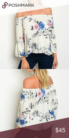 ☇SALE Beautiful Ivory Floral Off The Shoulder Top Ivory off the shoulder top my beautiful floral design, 3/4 bell sleeves, elastic shoulders and relaxed fit. Polyester material and made in the USA. True to size. Please refer to generic chart above for sizing assistance.   Bundle and save  Buy with confidence: ✔Top rated seller ✔Top 10% seller ✔Fast shipper x Tops