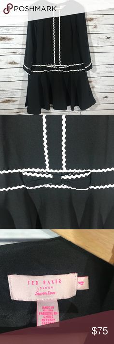 f2ee974162798 Ted Baker Gillla drop waist bow dress EUC Ted Baker Gillla dropped waist  bow dress size