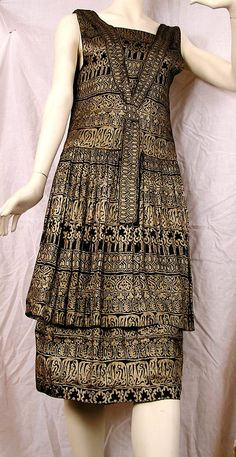 1920s Black and Gold Lame Dress, egyptian revival motifs