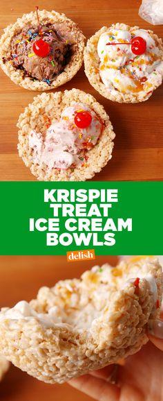 Krispie Treat Ice Cream Bowls make cones look like amateur hour. Get the recipe at Delish.com.