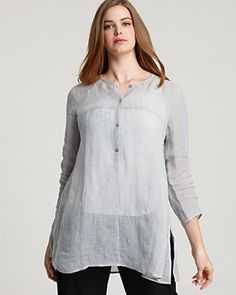 Eileen Fisher Plus Size Gauze Linen Tunic and Organic Stretch Cotton Twill Slim Ankle Pants