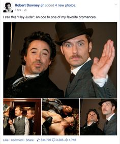 RDJ and Jude Law. The amount I love these dweebs is extreme. Sherlock Comic, Sherlock Series, Sherlock Fandom, Sherlock John, Sherlock Poster, Funny Sherlock, Sherlock Moriarty, Sherlock Season, Sherlock Quotes