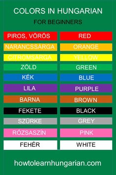 Hungarian vocabulary for beginners: the colors Source by educationsubjectss German Language Learning, First Language, Culture Day, Math Words, Language Lessons, Budapest Hungary, Learn English, Elementary Schools, Vocabulary