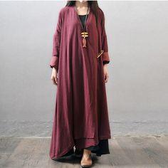 Women winter and autumn otton linen  long sleeve  long coat - Buykud  - 1