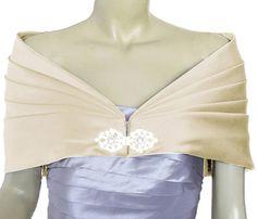 Alivila.Y Fashion Satin Buckle Pleated Wrap Shrug Shawl 01-Cream Satin