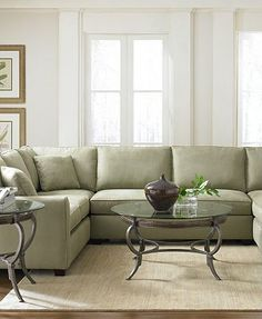 I think this one is my favorite.  It's a sectional, fresh, airy, modern and I love the green color.  I would definitely have this as my living room!  LOVE IT!    I set this as the cover photo because it's my favorite.  I want a living room like this one!