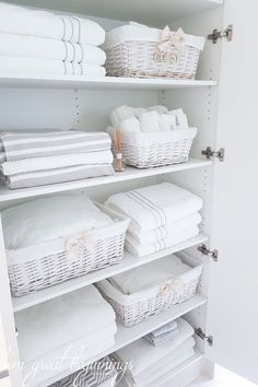 Linen Closet Organisation - From Great Beginnings - Healty fitness home cleaning Bathroom Closet Organization, Linen Closet Organization, Bathroom Organisation, Bathroom Storage, Small Bathroom, Organization Ideas, Bathroom Ideas, Towel Storage, Baskets For Storage