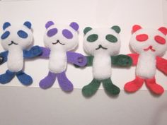 "Colourful pandas. I used the design from ""The Cute Book"" by Aranzi Aronzo."