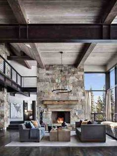 Incredible mountain modern dwelling offers slope-side living in Montana This mountain modern home designed by Centre Sky Architecture and Peace Design is sited in the Spanish Peaks Mountain Club, Big Sky, Montana. Lodge, Rustic House, Mountain Home Interiors, Rustic Style, Modern, Modern House Design, Modern Rustic Homes, Modern Interior Design, Modern House