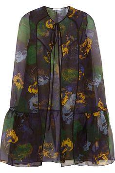 Erdem|Angela printed silk-organza cape|NET-A-PORTER.COM