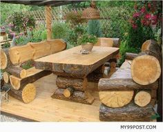 Log picnic table and benches