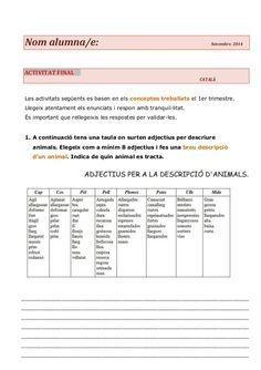 Nom alumna/e: Novembre. 2014  ACTIVITAT FINAL CATALÀ  Les activitats següents es basen en els conceptes treballats el 1er ...