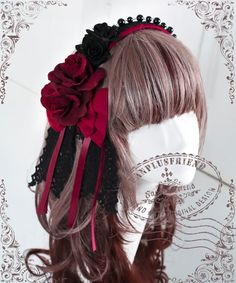 Gothic Elegant Lolita Pearl Side Rose Bow Hair Band*5color - fanplusfriend