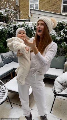 Millie Mackintosh.. Millie Mackintosh, Made In Chelsea, First Snow, Nine Months, Body Image, Winter Hats, Daughter, Post Partum, Mail Online