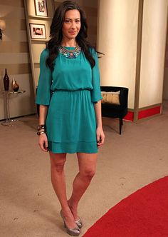Teal dress by Alice & Olivia/aliceandolivia.com #WNTW