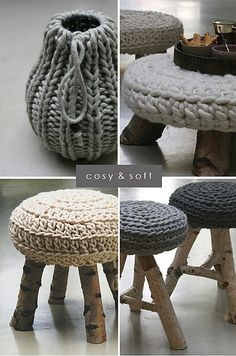 a knitted pouf with legs made from birch tree, a stool from wool and birch tree stems