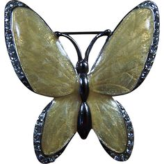 Beautiful Vintage Yellow Enameled Butterfly Brooch with Rhinestones