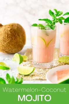 Coconut watermelon mojito makes for an extra tropical summer cocktail! This watermelon coconut mojito will make you think you're drinking a tropical cocktail right on the beach. Make Ahead Brunch Recipes, Easy Drink Recipes, Yummy Drinks, Healthy Drinks, Smoothie Recipes, Keto Recipes, Smoothies, Best Rum Cocktails, Cocktail Drinks