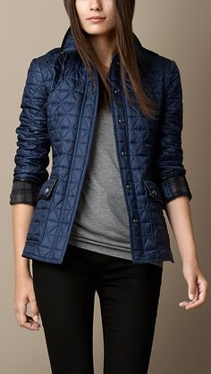 Leather Detail Quilted Jacket | Burberry Small | Steel Blue - $795.00