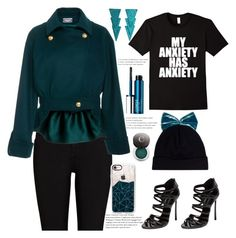 """my anxiety has anxiety"" by felicitysparks ❤ liked on Polyvore featuring Federica Moretti, River Island, Casadei, Alexis Mabille, Clinique, Casetify and Chantecaille"