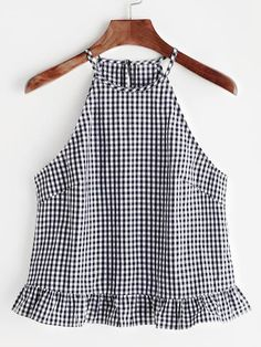 Gingham Buttoned Keyhole Back Frill Halter Top Shop Gingham Buttoned Keyhole Back Frill Halter Top online. SheIn offers Gingham Buttoned Keyhole Back Frill Halter Top & more to fit your fashionable needs. Halter Tops, Cami Tops, Diy Clothes, Fashion Clothes, Fashion Outfits, Womens Fashion, Fashion Quiz, 70s Fashion, Style Fashion
