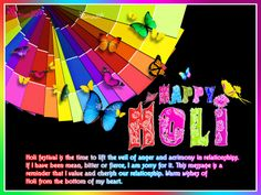 Happy Holi 3D Color Wishes Image with Message