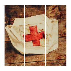 #vintage - #WW2 nurse hat. Army medical corps Triptych