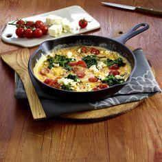 Omelett mit Spinat, Kirschtomaten und Fetakäse Rezept